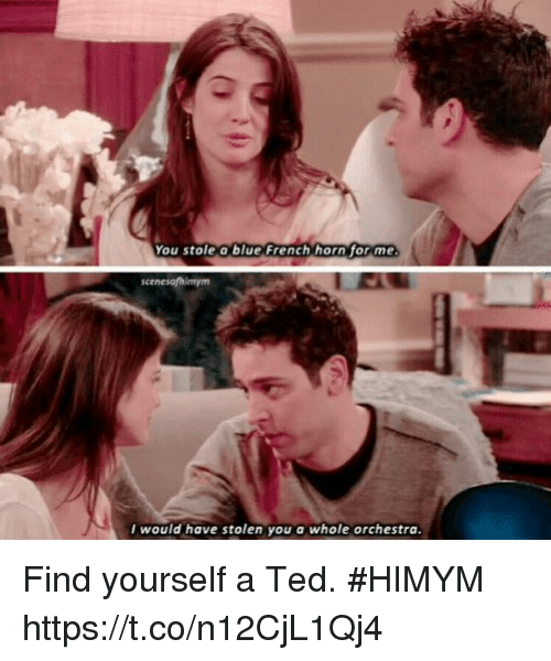 himym: You stole a blue French horn for me  would have stolen you a whole orchestra Find yourself a Ted. #HIMYM https://t.co/n12CjL1Qj4