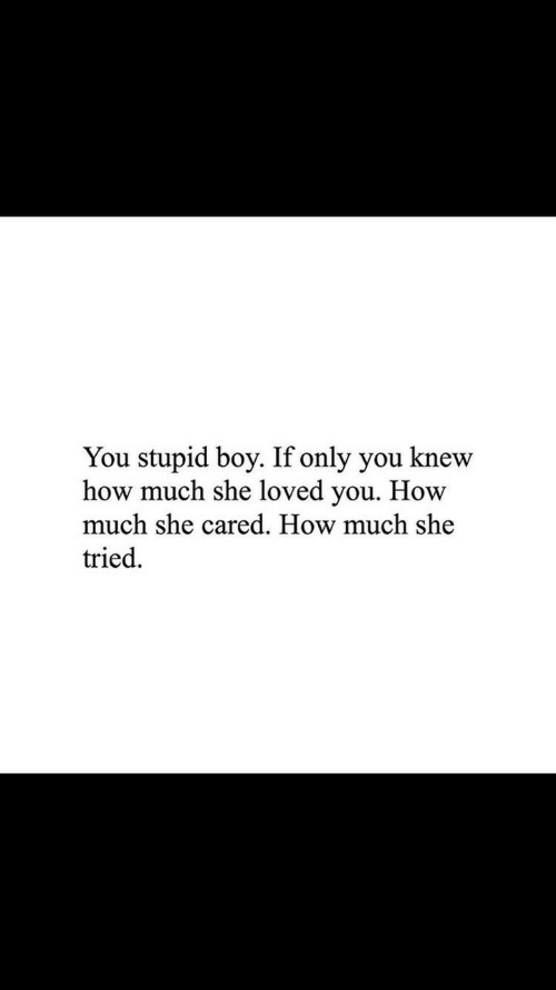 Boye: You stupid boy. If only you knew  how much she loved you. How  much she cared. How much she  tried.
