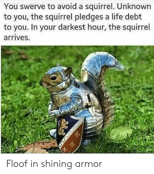 Life, Squirrel, and Darkest Hour: You swerve to avoid a squirrel. Unknown  to you, the squirrel pledges a life debt  to you. In your darkest hour, the squirrel  arrives. Floof in shining armor