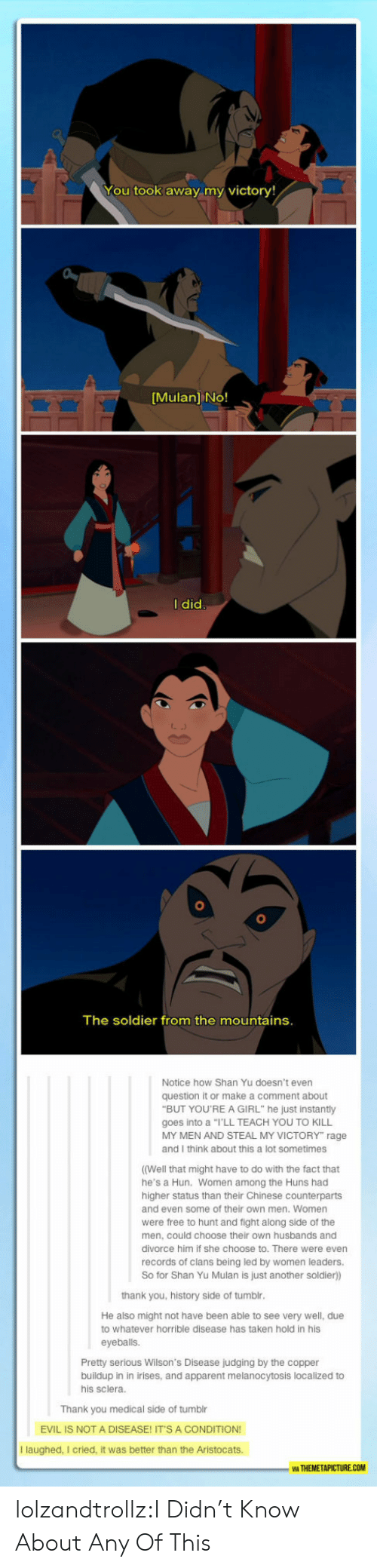 "themetapicture: You took away my victory!  [Mulan] No!  I did  The soldier from the mountains.  Notice how Shan Yu doesn't even  question it or make a comment about  ""BUT YOU'REA GIRL"" he just instantly  goes into a ""I'LL TEACH YOU TO KILL  MY MEN AND STEAL MY VICTORY"" rage  and I think about this a lot sometimes  ((Well that might have to do with the fact that  he's a Hun. Women among the Huns had  higher status than their Chinese counterparts  and even some of their own men. Women  were free to hunt and fight along side of the  men, could choose their own husbands and  divorce him if she choose to. There were even  records of clans being led by women leaders.  So for Shan Yu Mulan is just another soldier))  thank you, history side of tumblr.  He also might not have been able to see very well, due  to whatever horrible disease has taken hold in his  eyeballs.  Pretty serious Wilson's Disease judging by the copper  buildup in in irises, and apparent melanocytosis localized to  his sclera.  Thank you medical side of tumblr  EVIL IS NOT A DISEASE! IT'S A CONDITION!  I laughed, I cried, it was better than the Aristocats.  WA THEMETAPICTURE.COM lolzandtrollz:I Didn't Know About Any Of This"