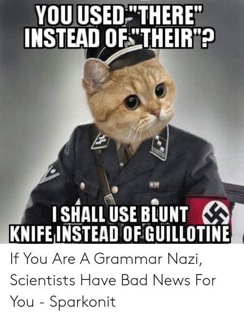 """Grammar Nazi Meme: YOU USEDTHERE""""  INSTEAD OF THEIR?  ISHALL USE BLUNT  KNIFE INSTEAD OF GUILLOTINE If You Are A Grammar Nazi, Scientists Have Bad News For You - Sparkonit"""