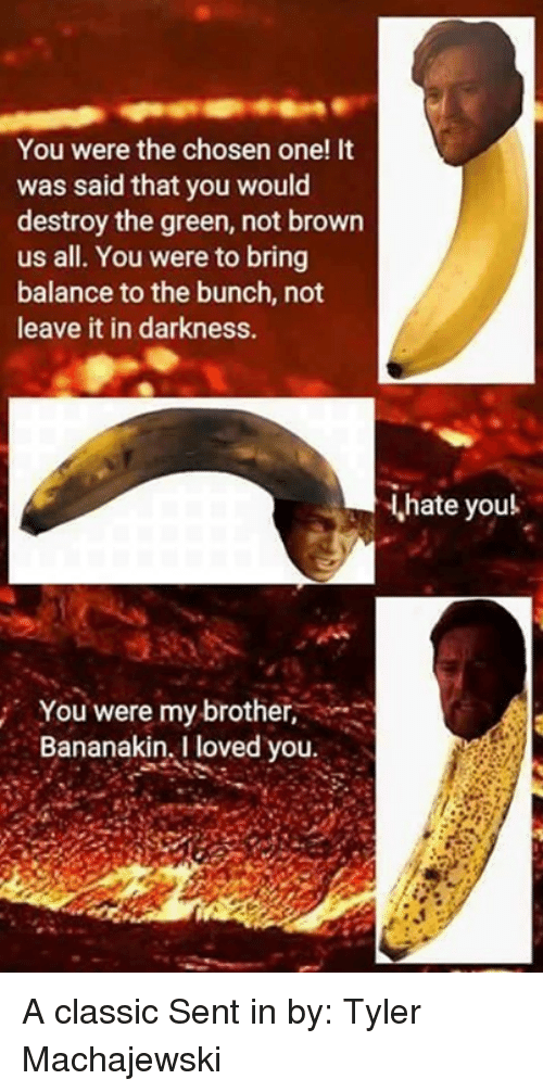 Senting: You were the chosen one! It  was said that you would  destroy the green, not brown  us all. You were to bring  balance to the bunch, not  leave it in darkness.  hate youl  You were my brother,  Bananakin, I loved you A classic Sent in by: Tyler Machajewski
