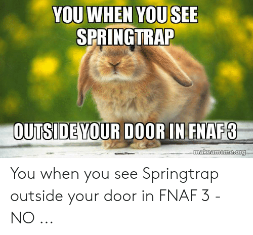 YOU WHEN YOU SEE SPRINGTRAP OUTSIDE YOUR D0OR IN FNAF3