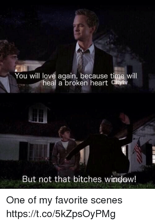 Love, Memes, and Heart: You will love again, because time will  heal a broken heart Cityiv  But not that bitches window! One of my favorite scenes https://t.co/5kZpsOyPMg