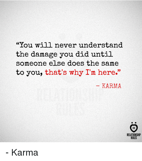 "Karma, Never, and Why: ""You will never understand  the damage you did until  someone else does the same  to you, that's why I'm here.""  KARMA  AR  RELATIONSHIP  RULES - Karma"