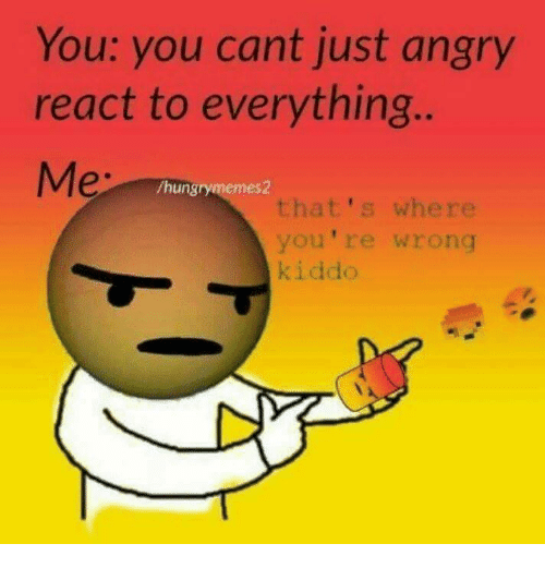 Hungryness: You: you cant just angry  react to everything  /hungry memes2  that's where  you're wrong  kiddo
