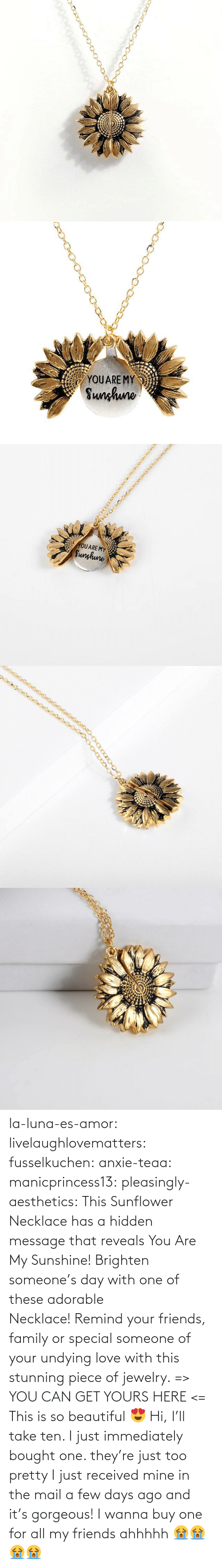 a-few-days: YOUARE MY  Sunhuno   YOUARE MY  Sunghune la-luna-es-amor:  livelaughlovematters: fusselkuchen:  anxie-teaa:   manicprincess13:   pleasingly-aesthetics:  This Sunflower Necklace has a hidden message that reveals You Are My Sunshine! Brighten someone's day with one of these adorable Necklace! Remind your friends, family or special someone of your undying love with this stunning piece of jewelry. => YOU CAN GET YOURS HERE <=   This is so beautiful 😍    Hi, I'll take ten.    I just immediately bought one. they're just too pretty   I just received mine in the mail a few days ago and it's gorgeous!   I wanna buy one for all my friends ahhhhh 😭😭😭😭