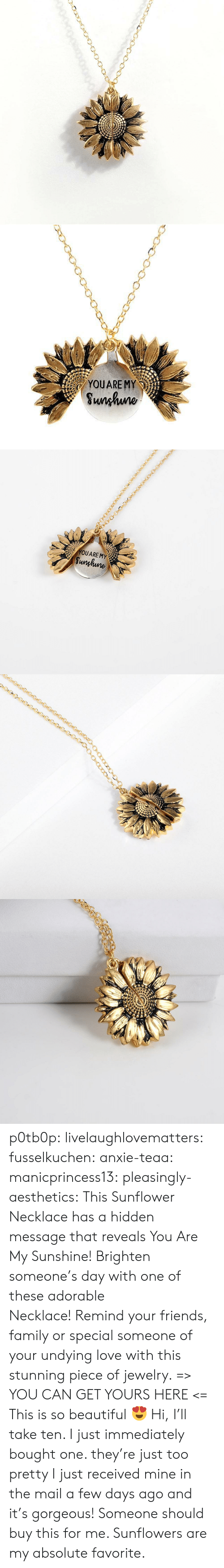 Sunflowers: YOUARE MY  Sunhuno   YOUARE MY  Sunghune p0tb0p:  livelaughlovematters: fusselkuchen:  anxie-teaa:   manicprincess13:   pleasingly-aesthetics:  This Sunflower Necklace has a hidden message that reveals You Are My Sunshine! Brighten someone's day with one of these adorable Necklace! Remind your friends, family or special someone of your undying love with this stunning piece of jewelry. => YOU CAN GET YOURS HERE <=   This is so beautiful 😍    Hi, I'll take ten.    I just immediately bought one. they're just too pretty   I just received mine in the mail a few days ago and it's gorgeous!   Someone should buy this for me. Sunflowers are my absolute favorite.