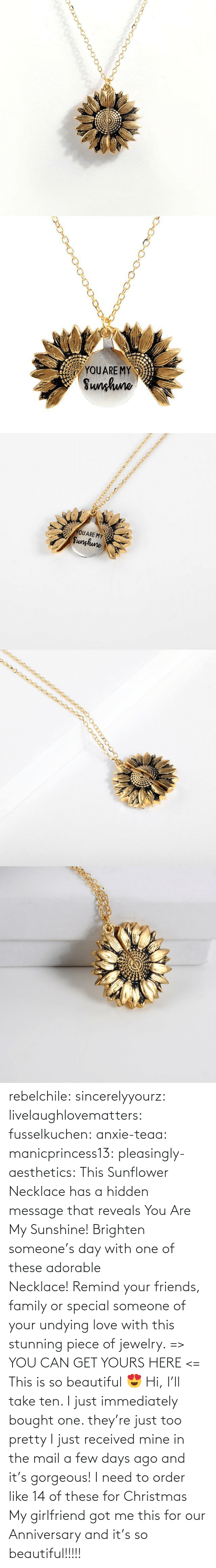 Jewelry: YOUARE MY  Sunhuno   YOUARE MY  Sunghune rebelchile:  sincerelyyourz:  livelaughlovematters:  fusselkuchen:  anxie-teaa:   manicprincess13:   pleasingly-aesthetics:  This Sunflower Necklace has a hidden message that reveals You Are My Sunshine! Brighten someone's day with one of these adorable Necklace! Remind your friends, family or special someone of your undying love with this stunning piece of jewelry. => YOU CAN GET YOURS HERE <=   This is so beautiful 😍    Hi, I'll take ten.    I just immediately bought one. they're just too pretty   I just received mine in the mail a few days ago and it's gorgeous!   I need to order like 14 of these for Christmas    My girlfriend got me this for our Anniversary and it's so beautiful!!!!!