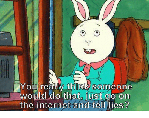 just go on the internet and tell lies: Youlreally think someone  would do that, just go on  the internet and tell lies?  SO