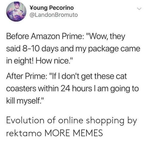 "Amazon, Amazon Prime, and Dank: Young Pecorind  @LandonBromuto  Before Amazon Prime: ""Wow, they  said 8-10 days and my package came  in eight! How nice.""  After Prime: ""If I don't get these cat  coasters within 24 hours l am going to  kill myself."" Evolution of online shopping by rektamo MORE MEMES"