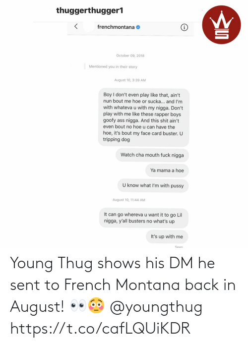 French: Young Thug shows his DM he sent to French Montana back in August! 👀😳 @youngthug https://t.co/cafLQUiKDR