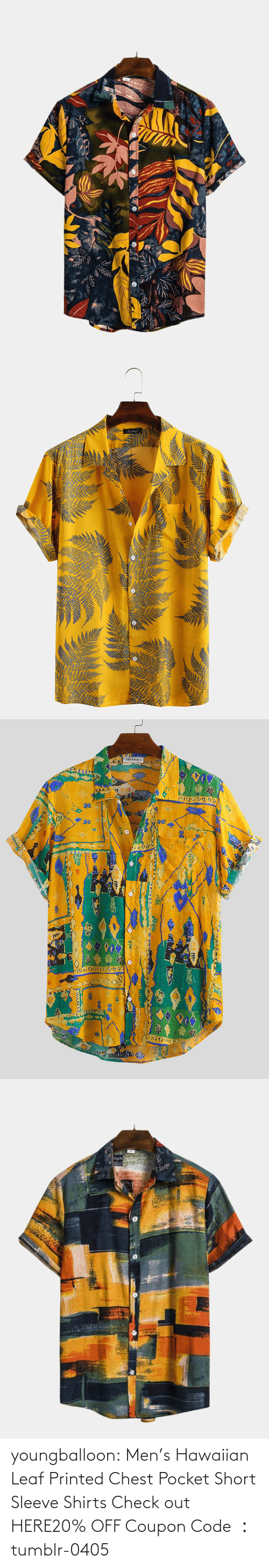 Chest: youngballoon:  Men's Hawaiian Leaf Printed Chest Pocket Short Sleeve Shirts Check out HERE20% OFF Coupon Code : tumblr-0405