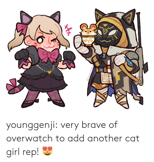 Tumblr, Blog, and Brave: younggenji:  very brave of overwatch to add another cat girl rep! 😻