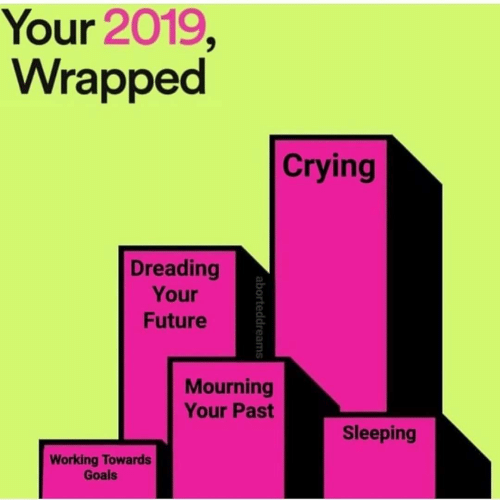 Crying, Future, and Goals: Your 2019,  Wrapped  Crying  Dreading  Your  Future  Mourning  Your Past  Sleeping  Working Towards  Goals  aborteddreams