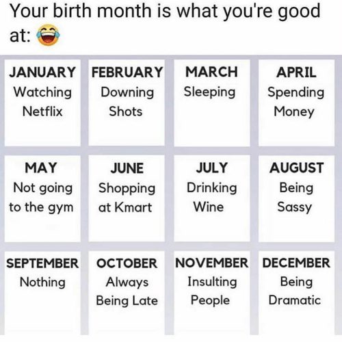 Insulting: Your birth month is what you're good  at:  APRIL  JANUARY FEBRUARY MARCH  Watching Downing Sleeping Spending  Netflix  Shots  Money  JULY  AUGUST  Being  Sassy  MAY  JUNE  Not going Shopping Drinking  at Kmart  Wine  to the gym  SEPTEMBER OCTOBER NOVEMBER DECEMBER  Nothing  Insulting  Being Late People  Being  Dramatic  Always