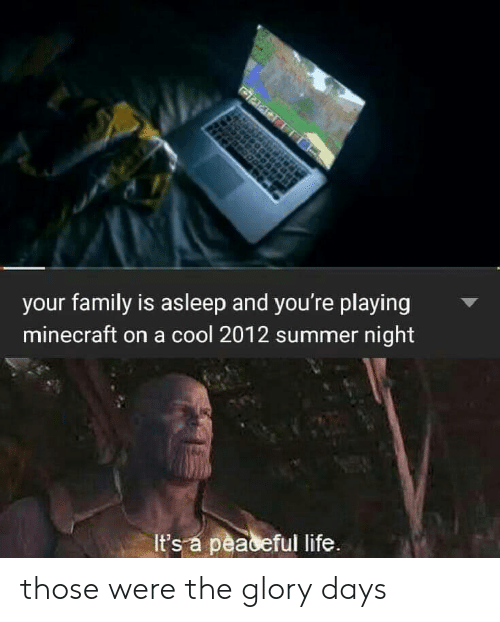 Family, Life, and Minecraft: your family is asleep and you're playing  minecraft on a cool 2012 summer night  It's a peaceful life. those were the glory days