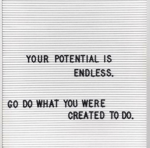 You, What, and Potential: YOUR POTENTIAL IS  ENDLESS  GO DO WHAT YOU WERE  CREATED TO DO.