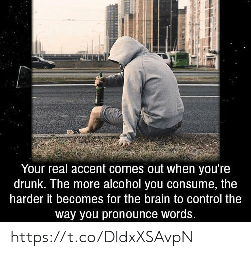 Drunk, Memes, and Control: Your real accent comes out when you're  drunk. The more alcohol you consume, the  harder it becomes for the brain to control the  way you pronounce words. https://t.co/DldxXSAvpN