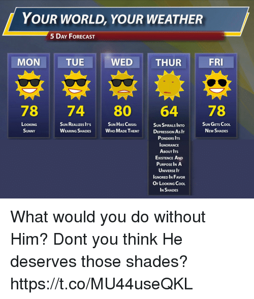 Forecast: YOUR WORLD, YOUR WEATHER  5 DAY FoRECAST  MON  TUE  WED  THUR  FRI  78 74 80 64 78  SUN HAS CRISIS:  LOOKING  SUNNY  SUN REALIZES IT'S  WEARING SHADES WHo MADE TEM  SUN GETS CooL  NEw SHADES  SUN SPIRALS INTO  DEPRESSION As I  PONDERS ITS  IGNORANCE  ABOUT ITs  ExISTENCE AND  PURPOSE INA  UNIVERSE IT  IGNORED IN FAVOR  OF LOOKING CooL  IN SHADES What would you do without Him? Dont you think He deserves those shades? https://t.co/MU44useQKL