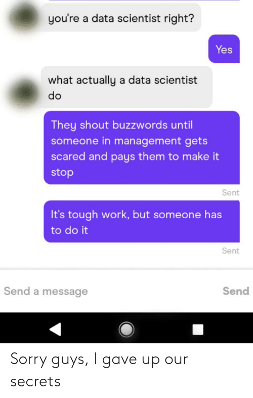 Sorry, Work, and Tough: you're a data scientist right?  Yes  what actually a data scientist  do  They shout buzzwords until  someone in management gets  scared and pays them to make it  stop  Sent  It's tough work, but someone has  to do it  Sent  Send a message  Send Sorry guys, I gave up our secrets