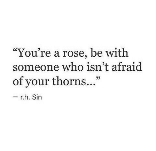 """A Rose: """"You're a rose, be with  someone who isn't afraid  of your thorns...""""  92  r.h. Sin"""