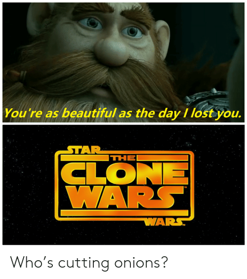 clone wars: You're as beautiful as the day I lost you.  STAR  THE  CLONE  WARS  WARS Who's cutting onions?