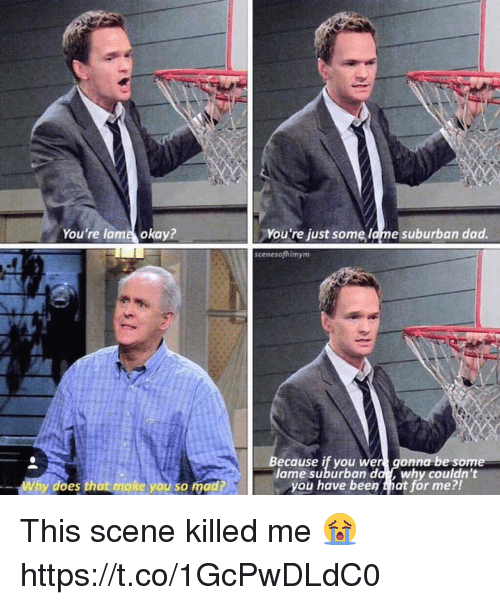 Dad, Memes, and Okay: You're lame okay?  You're just some lame suburban dad.  scenesofhimym  Because if you wer gonna be som  l da why couldn't  you have been that för me?!  ame suburban  y does that make you so mad? This scene killed me 😭 https://t.co/1GcPwDLdC0