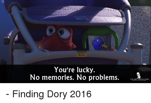 movie line: You're lucky  No memories. No problems.  THE BEST MOVIE LINES - Finding Dory 2016