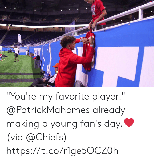 "Memes, Chiefs, and 🤖: ""You're my favorite player!""   @PatrickMahomes already making a young fan's day.❤️  (via @Chiefs) https://t.co/r1ge5OCZ0h"