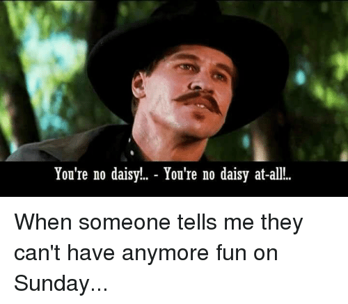 Memes, Sunday, and 🤖: You're no daisy!. - You're no daisy at-all.. When someone tells me they can't have anymore fun on Sunday...