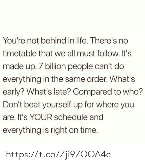 Life, Memes, and Schedule: You're not behind in life. There's no  timetable that we all must follow.It's  made up. 7 billion people can't do  everything in the same order. What's  early? What's late? Compared to who?  Don't beat yourself up for where you  are. It's YOUR schedule and  everything is right on time. https://t.co/Zji9ZOOA4e