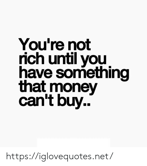 Money, Net, and You: You're not  rich until you  have something  that money  can't buy.. https://iglovequotes.net/