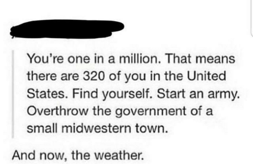 in the united states: You're one in a million. That means  there are 320 of you in the United  States. Find yourself. Start an army.  Overthrow the government of a  small midwestern town.  And now, the weather.