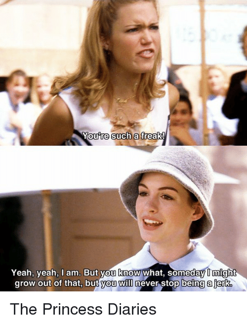 Such A Freak: Youre such a freak!  Yeah, yeah, am. But you know what, someday Omight  grow out of that, but you WID never stop being a jerk The Princess Diaries
