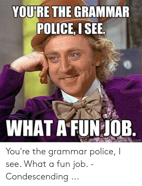 Grammar Police Meme: YOURE THE GRAMMAR  POLICE, ISEE  WHAT A FUN JOB.  udknene.com You're the grammar police, I see. What a fun job. - Condescending ...