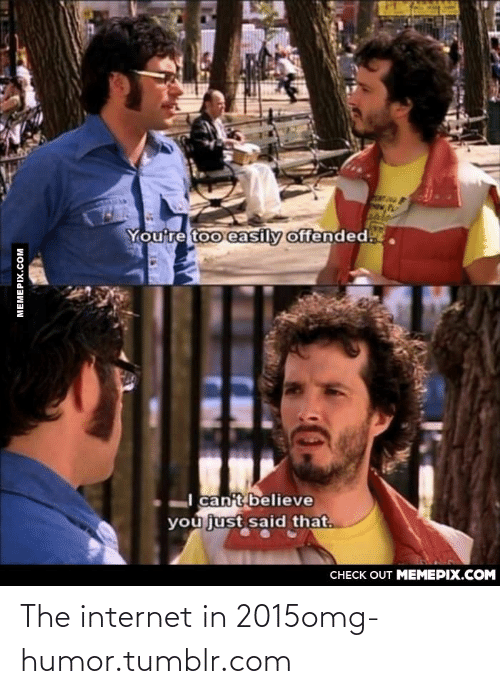 128i: You're too easily offended.  I can't believe  you just said that.  CНЕCK OUT MЕМЕРIХ.COM  MEMEPIX.COM The internet in 2015omg-humor.tumblr.com