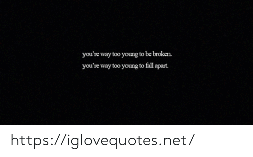 Fall, Net, and Href: you're way too young to be broken.  you're way too young to fall apart. https://iglovequotes.net/
