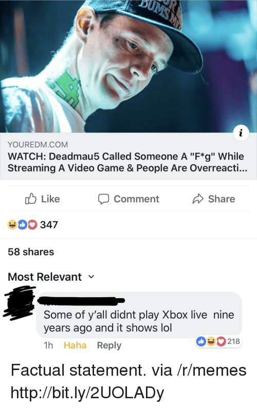"Lol, Memes, and Xbox Live: YOUREDM.COM  WATCH: Deadmau5 Called Someone A ""F*g"" While  Streaming A Video Game & People Are Overreacti...  cb Like  40 347  58 shares  Most Relevant  comment  Share  Some of y'all didnt play Xbox live nine  years ago and it shows lol  1h Haha Reply  090218 Factual statement. via /r/memes http://bit.ly/2UOLADy"