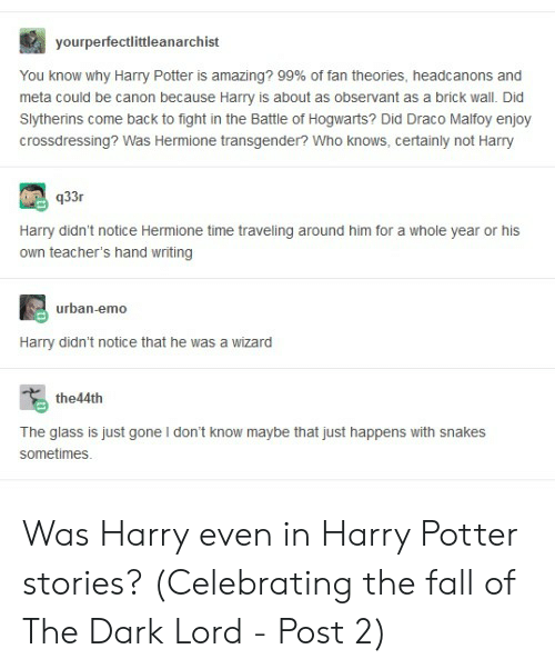Yourperfectlittleanarchist You Know Why Harry Potter Is
