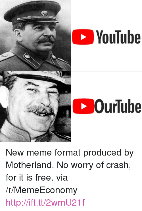 """Motherland: YouTube <p>New meme format produced by Motherland. No worry of crash, for it is free. via /r/MemeEconomy <a href=""""http://ift.tt/2wmU21f"""">http://ift.tt/2wmU21f</a></p>"""