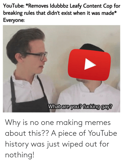 You Fucking: YouTube: *Removes Idubbbz Leafy Content Cop for  breaking rules that didn't exist when it was made*  Everyone:  What are you? fucking gay? Why is no one making memes about this?? A piece of YouTube history was just wiped out for nothing!