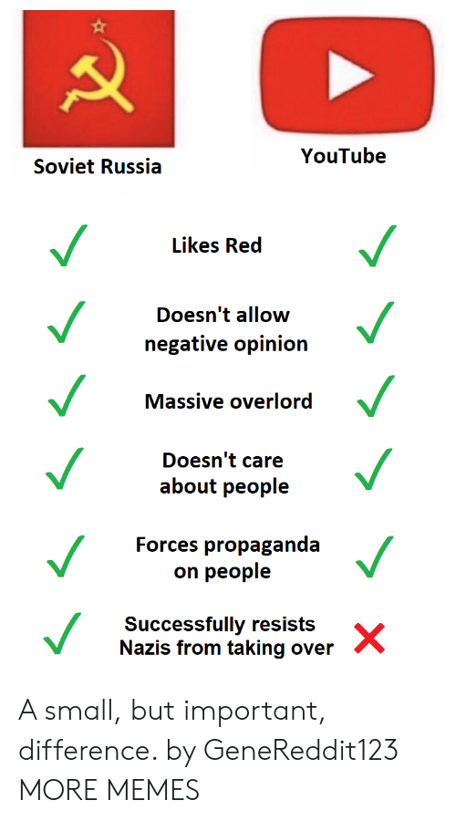 soviet russia: YouTube  Soviet Russia  Likes Red  Doesn't allow  negative opinion  Massive overlord  Doesn't care  about people  Forces propaganda  on people  Successfully resists  Nazis from taking over A small, but important, difference. by GeneReddit123 MORE MEMES