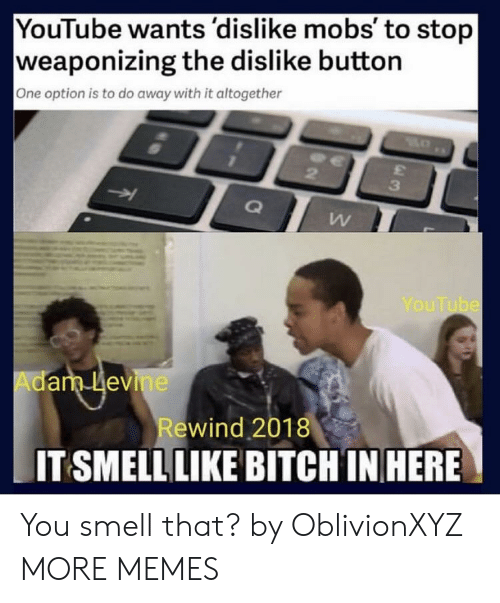 Adam Levine: YouTube wants 'dislike mobs' to stop  weaponizing the dislike button  One option is to do away with it altogether  3  YouTube  Adam Levine  ewind 2018  IT SMELL LIKE BITCH IN HERE You smell that? by OblivionXYZ MORE MEMES