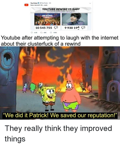 """Internet, youtube.com, and Record: YouTube YouTube 4h  New record!! Oh..wait.  YOUTUBE REWIND VS BABY  RACE TO BECOME THE MOST DISLIKED VIDEO ON YOUTUBE  SEWIND  Avevo  10 545 755  9 930 194  94.4K 42K ㅇ 140K  Youtube after attempting to laugh with the internet  about their clusterfuck of a rewind  """"We did it Patrick! We saved our reputation!"""" They really think they improved things"""