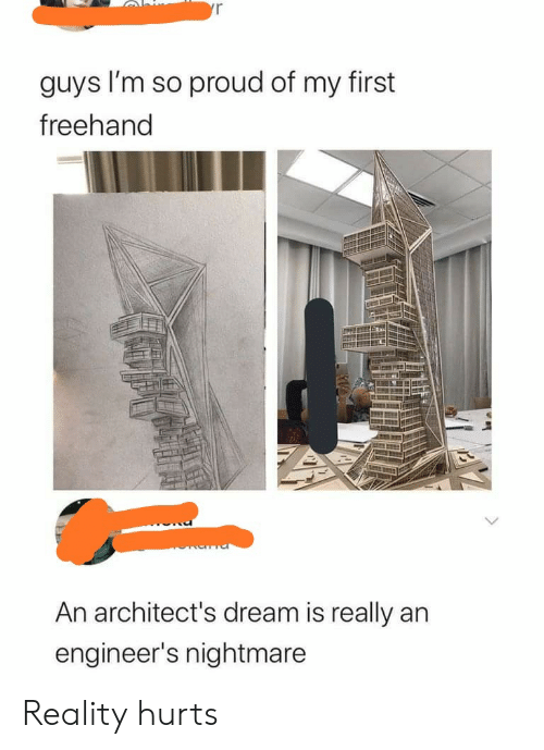 Engineers: yr  guys I'm so proud of my first  freehand  An architect's dream is really an  engineer's nightmare Reality hurts