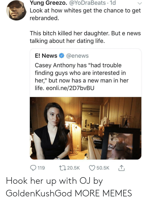"""casey anthony: Yung Greezo. @YoDraBeats 1d  Look at how whites get the chance to get  rebranded  This bitch killed her daughter. But e news  talking about her dating life  E! News @enews  Casey Anthony has """"had trouble  finding guys who are interested in  her,"""" but now has a new man in her  life. eonli.ne/2D7bvBU  119 20.5 50.5K Hook her up with OJ by GoldenKushGod MORE MEMES"""