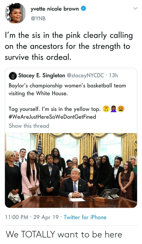 White House: yvette nicole brown C  @YNB  I'm the sis in the pink clearly calling  on the ancestors for the strength to  survive this ordeal  Stacey E. Singleton @staceyNYCDC 13h  Baylor's championship women's basketball team  visiting the White House.  Tag yourself. I'm sis in the yellow top.  #WeAreJustHeresoweDontGetFined  Show this thread  11:00 PM 29 Apr 19 Twitter for iPhone We TOTALLY want to be here