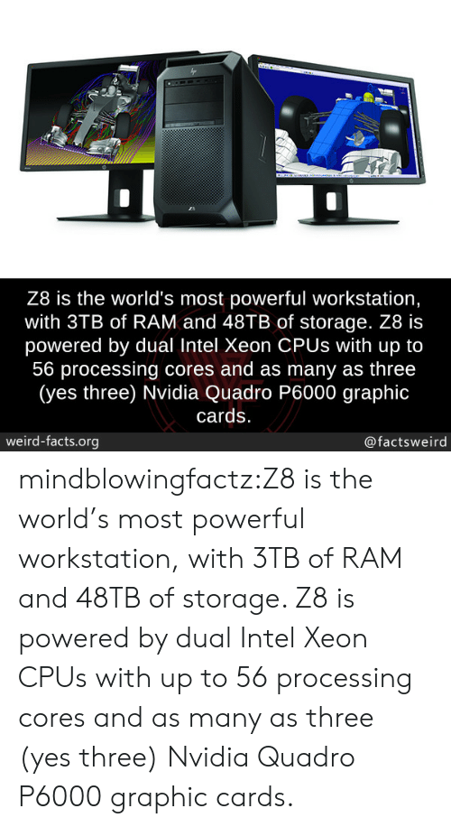 Nvidia: Z8 is the world's most powerful workstation,  with 3TB of RAM and 48TB of storage. Z8 is  powered by dual Intel Xeon CPUs with up to  56 processing cores and as many as three  (yes three) Nvidia Quadro P6000 graphic  cards  weird-facts.org  @factsweird mindblowingfactz:Z8 is the world's most powerful workstation, with 3TB of RAM and 48TB of storage. Z8 is powered by dual Intel Xeon CPUs with up to 56 processing cores and as many as three (yes three) Nvidia Quadro P6000 graphic cards.