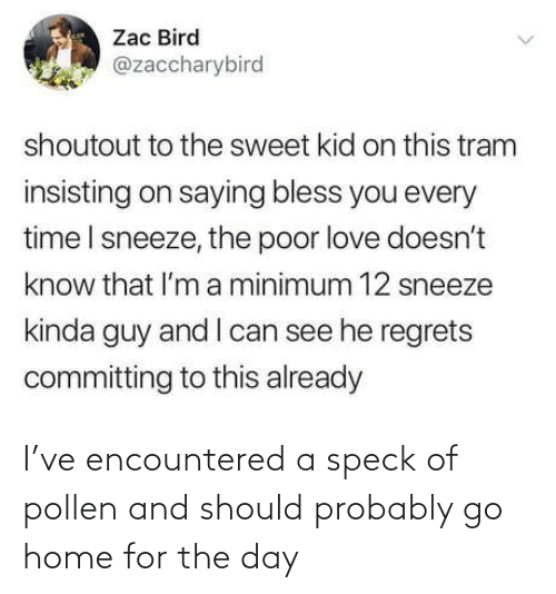 Know That: Zac Bird  @zaccharybird  shoutout to the sweet kid on this tram  insisting on saying bless you every  time I sneeze, the poor love doesn't  know that l'm a minimum 12 sneeze  kinda guy and I can see he regrets  committing to this already I've encountered a speck of pollen and should probably go home for the day